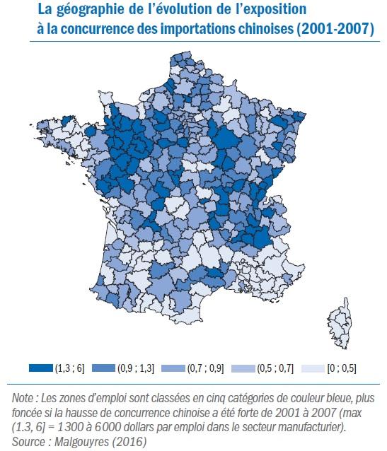 carte France géographie de l'évolution de l'exposition à la concurrence des importations chinoises (2001-2007)