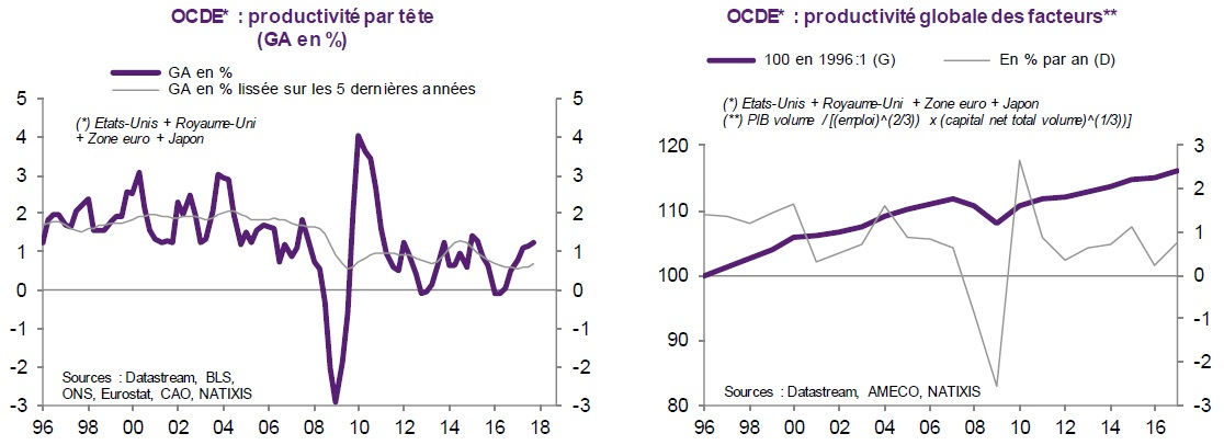graphiques productivité par tête et productivité globale des facteurs dans les pays de l'OCDE