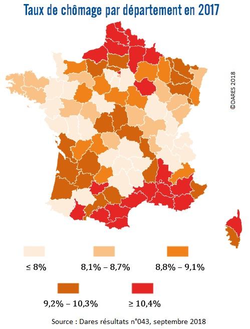 Carte : Taux de chômage par département en France en 2017