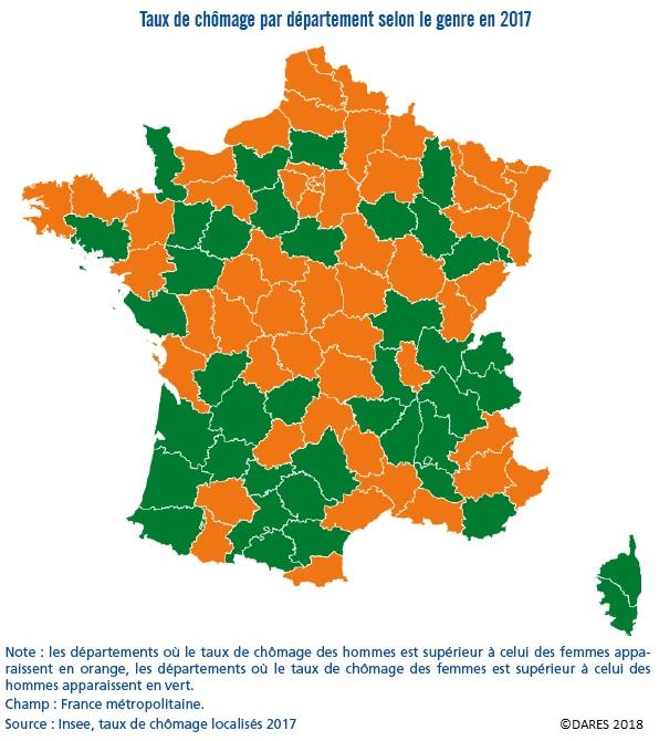 Carte : Taux de chômage par département selon le genre en France en 2017