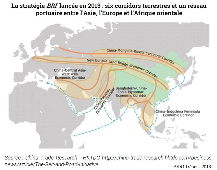 Carte : La stratégie BRI lancée en 2013 : six corridors terrestres et un réseau portuaire entre l'Asie, l'Europe et l'Afrique orientale