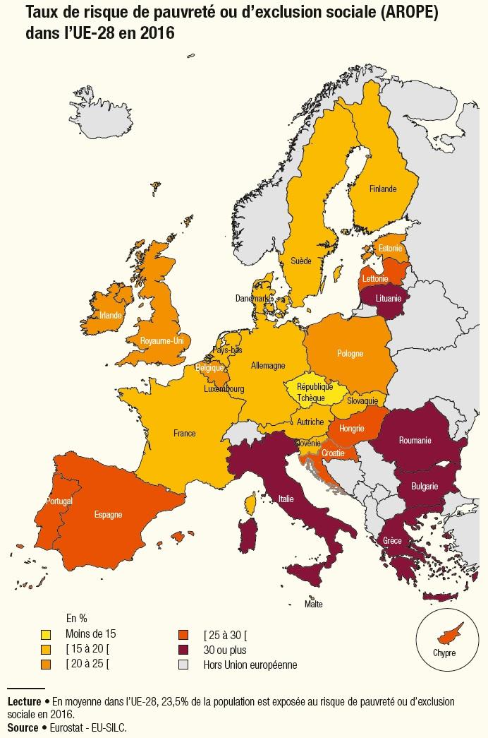 Carte : Taux de risque de pauvreté ou d'exclusion sociale dans l'UE en 2016