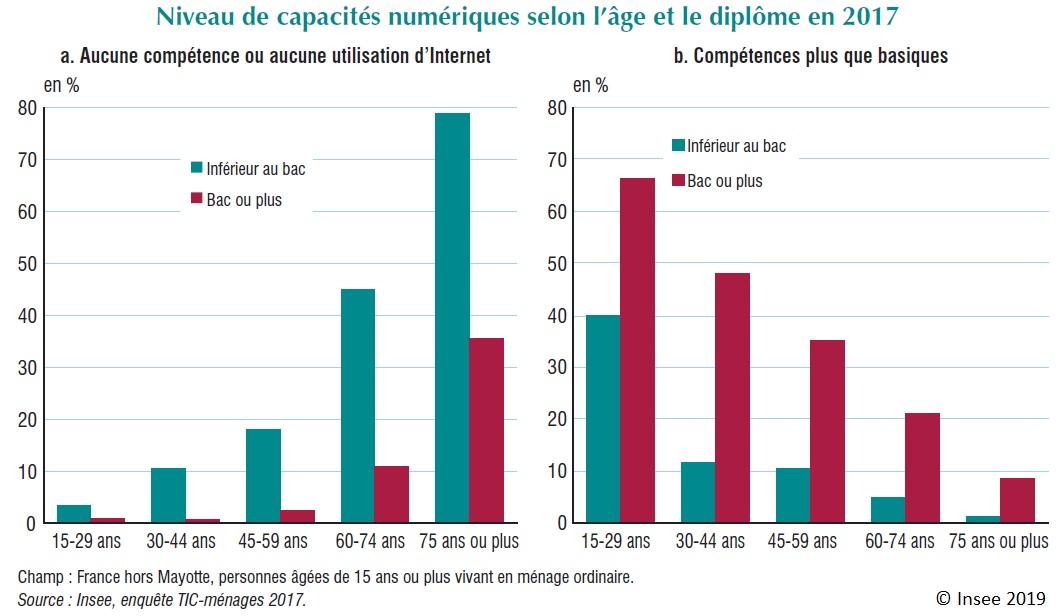 Graphique : Niveau de capacités numériques selon l'âge et le diplôme en 2017