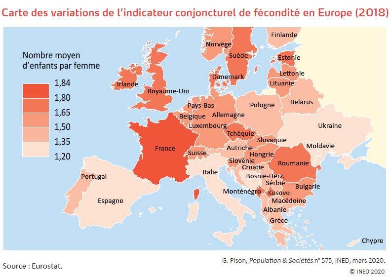 Carte des variations de l'indicateur conjoncturel de fécondité en Europe (2018)