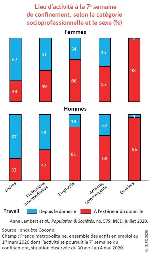 Figure 1. Lieu d'activité à la 7e semaine de confinement, selon la catégorie socioprofessionnelle et le sexe (%)