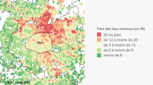 Graphique : Part des personnes à bas revenus dans la population, unité urbaine de Paris