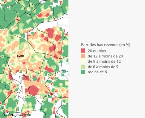 Graphique : Part des personnes à bas revenus dans la population, unité urbaine de Lyon