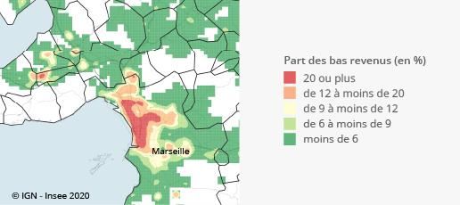 Graphique : Part des personnes à bas revenus dans la population, unité urbaine de Marseille