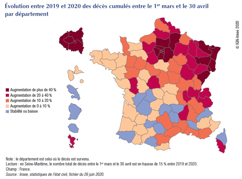 Carte : Évolution entre 2019 et 2020 des décès cumulés entre le 1er mars et le 30 avril par département