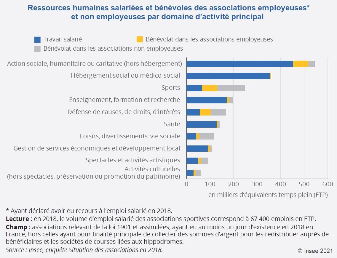 Graphique : Ressources humaines salariées et bénévoles des associations employeuses et non employeuses par domaine d'activité principal