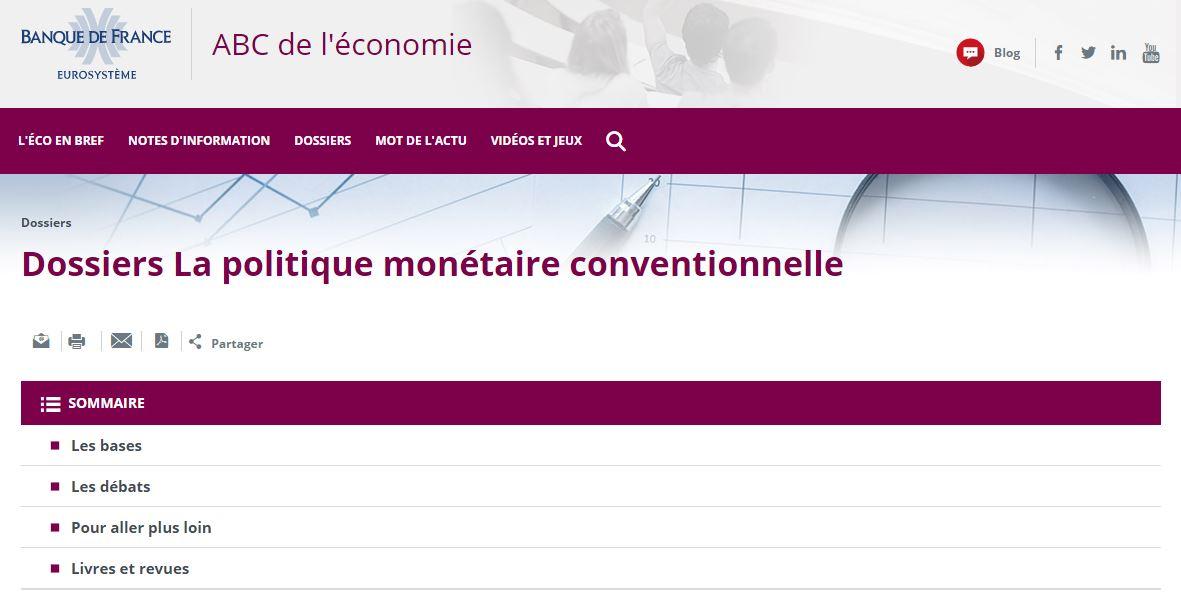capture d'écran de la page du dossier sur le site de la Banque de France