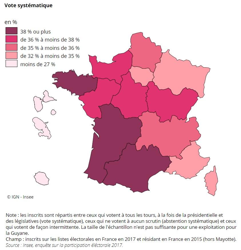 carte vote systématique par région française en 2017