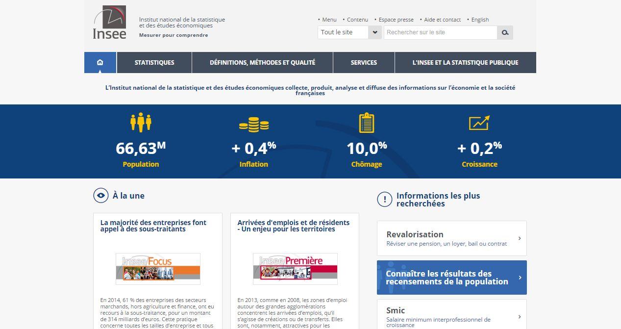 capture de la page d'accueil du nouveau site de l'Insee
