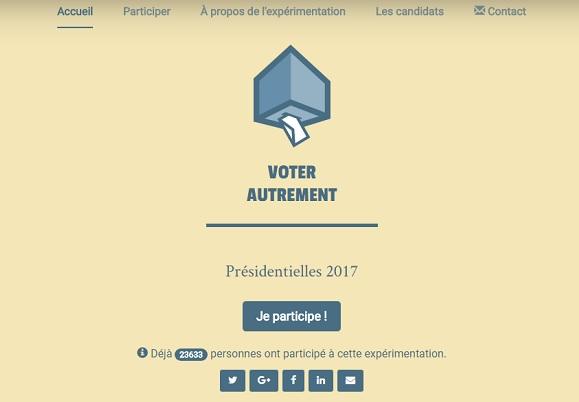 page d'accueil du site Voter Autrement