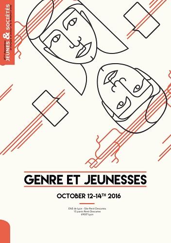 """Affiche du colloque """"Genre et jeunesses"""" 11-14 octobre 2016 Lyon"""