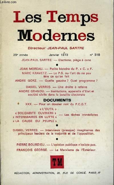 couverture revue Les temps modernes n°318, année 1973