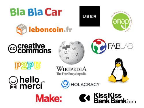 logos d'entreprises ou de structures de l'économie collaborative