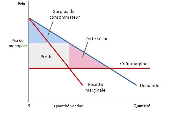 Graphique : Prix de monopole et détermination du surplus total en monopole