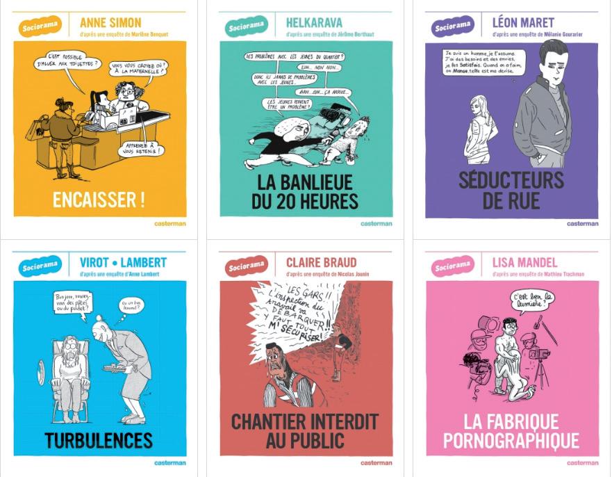 couvertures des 6 titres déjà sortis dans la collection Sociorama